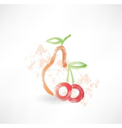 pear cherry grunge icon vector image