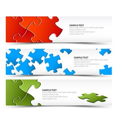 Set of puzzle horizontal banners vector image vector image