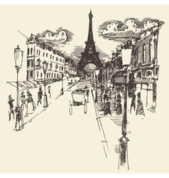 Streets Paris France Vintage Engraved Hand Drawn vector image