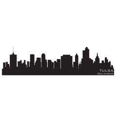 tulsa oklahoma skyline detailed silhouette vector image vector image
