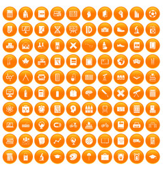 100 school icons set orange vector image