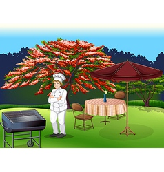 A person grilling at park vector