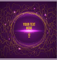 abstract yellow glared wave lines on purple vector image