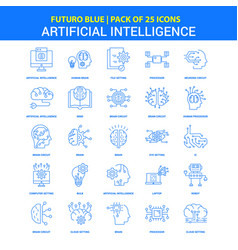 artificial intelligence icons - futuro blue 25 vector image