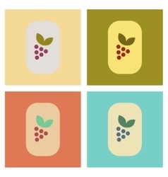 Assembly flat icons poker grapes with leaf vector