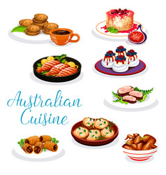 Australian cuisine meat and fish dishes desserts vector