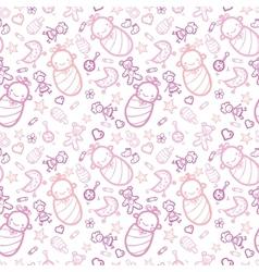 Baby girls seamless pattern background vector