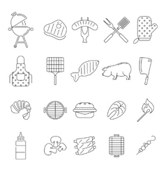 Barbecue or Grill Icons vector image