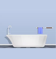 Bathtub in bathroom concept background realistic vector