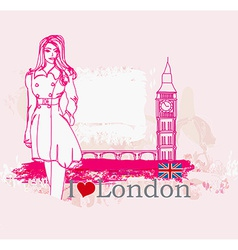Beautiful woman in London vector image