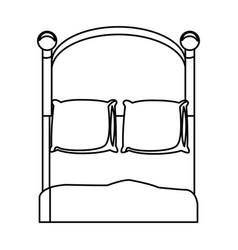 bedroom two pillow blanket wooden outline vector image
