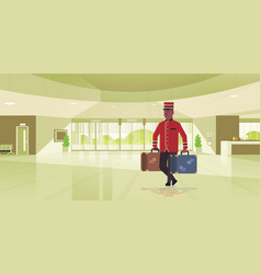 Bell boy carrying suitcases hotel service concept vector