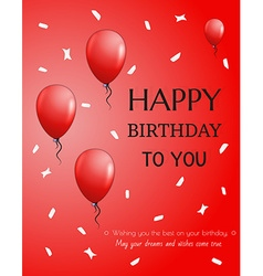 Birthday card with balloons vector