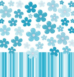 Blue background with flowers and stripes vector image