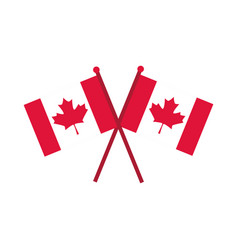 Canada day crossed canadian flags independence vector
