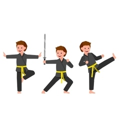 Cartoon kid wearing kimono martial art vector