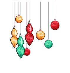 christmas balls hand drawn vector image