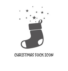 christmas sock icon simple flat style vector image