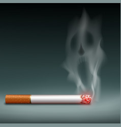 Cigarette with smoke in form a demon vector