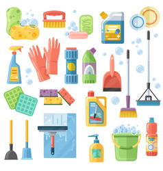 Cleaning suppliestools flat icons set vector