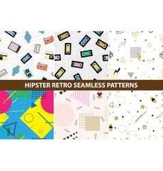 Collection of hipster retro memphis patterns vector