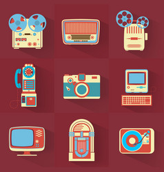 Collection of vintage electronics vector