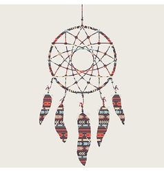 colorful dream catcher with ethnic patter vector image