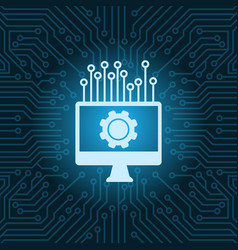 Computer monitor with cogwheel icon over blue vector