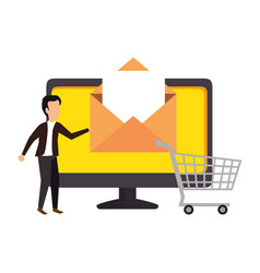 computer with businessman and email vector image