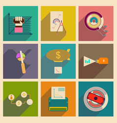 Concept flat icons with long shadow economy vector