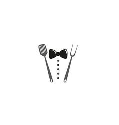 creative creative tie spatula fork logo design vector image