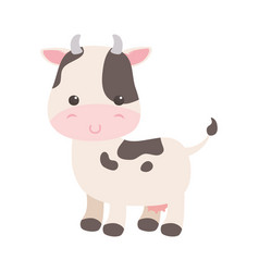 cute little cow cartoon animal isolated icon vector image