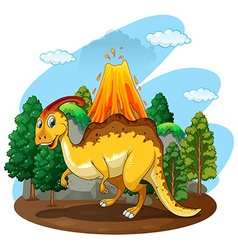 Dinosaur living in the forest vector