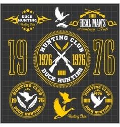 Duck hunting - set for hunting emblem vector