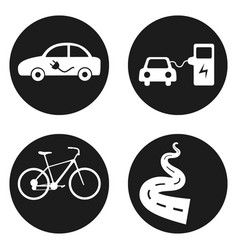 ecology transport icons set bicycle electric car vector image