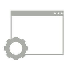 Empty browser window with a gear symbol vector