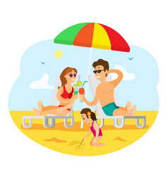 family on summer vacation parents and kid vector image