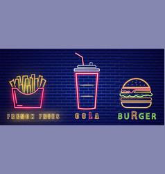 fast food lunch menu neon billboard vector image