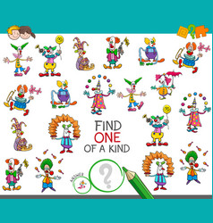 Find one of a kind game with clown characters vector