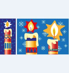 Finely decorated christmas candles vector