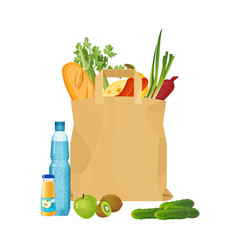 full shopping bag market food and grocery vector image