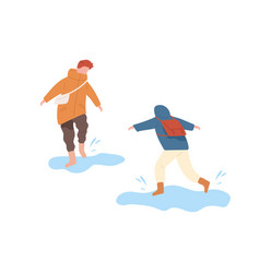 funny kids running and jumping on puddle vector image