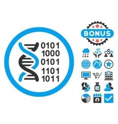 Genome Code Flat Icon with Bonus vector image