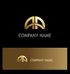 Gold arch gate curve capital logo vector