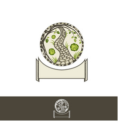 Grden path logo or round emblem vector