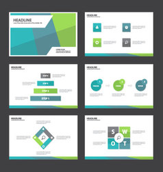 Green blue presentation templates Infographic set vector