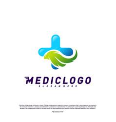 green medical logo design concept healthcare vector image