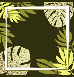 Green tropical leaves on the dark background vector