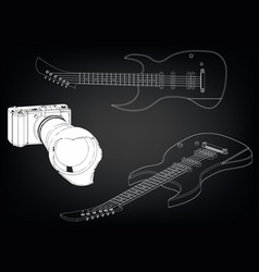 guitar on a black vector image