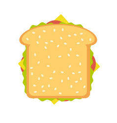 ham and vegetable sandwich vector image